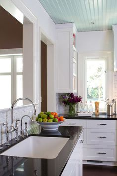 traditional kitchen by Charmean Neithart Interiors, LLC.  Faucet - Bridge Faucet w/ Sidespray, Perrin & Rowe, Rohl faucet, neithart interior, traditional kitchens, hous, tradit kitchen, white kitchens