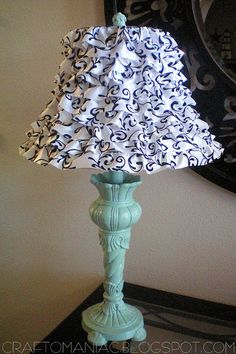 DIY ruffled lamp using wire ribbon - This is just ribbon threaded through a wire to make it a ruffle and hot glued on to the lamp shade.
