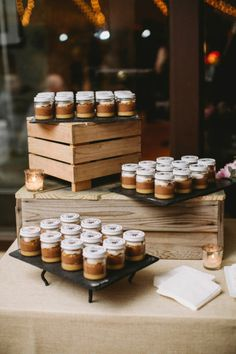 dessert in a jar   Photography by lovemedophotography.com   Planning by http://www.trulyyouevents.com     Read more - http://www.stylemepretty.com/2013/08/07/philadelphia-wedding-from-love-me-do-photography/