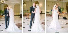 Bride & Groom's first look within Lovett Hall Ballroom