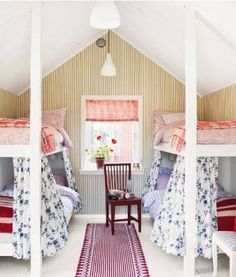 turn unused attic space into built in bunk beds for kids sleepover