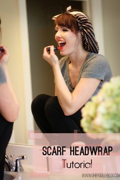 headscarf-tutorial, great for pulling your hair back with no creases