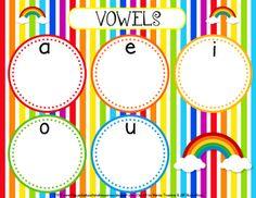 Rainbow Vowel Mat Freebie
