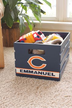 Personalized Wooden Storage Box for Baby Boy - Would most definitely not be the bears though :)