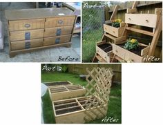 Old dresser on its back = raised garden bed; drawers become planters. LOVE LOVE