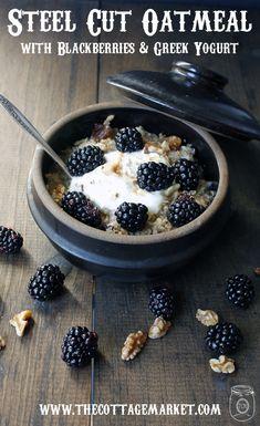 Steel Cut Oatmeal with Blackberries, Granola and Greek Yogurt