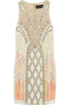 Needle & Thread | Geo Sundown embellished chiffon mini dress