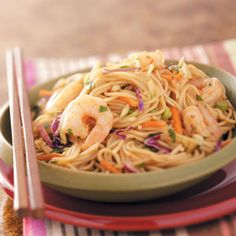 Shrimp 'n' Noodle Bowls Recipe from Taste of Home -- shared by Mary Bergfeld of Eugene, Oregon