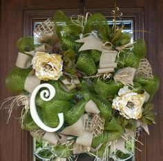 Deco Mesh and BURLAP Wreath with an INITIAL and by decoglitz