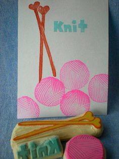 ...or making knit-themed rubber stamping sets... I guess all I need is a knife and a big block of rubber, right?