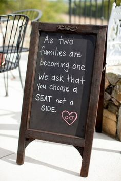 To discuss - will guests be escorted to their seat or will it be casual, like this sign suggests?  If so, will need a chalkboard to state this at entrance to aisle.
