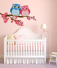 Pink & Blue Owls & Branch Reusable Wall Decal by Wall a Roos on #zulily