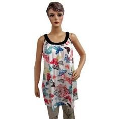 Womens Tank Top- White Scoop Neck Butterfly Printed Sleeveless Tunic Top Medium (Apparel)