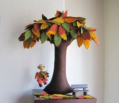 I love the fall colored leaves on this felt tree. Would make a lovely addition to our nature table :)  via Etsy.