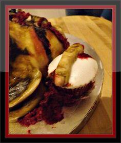 Severed finger cupcake for Zombie Cake/Walking Dead cake.