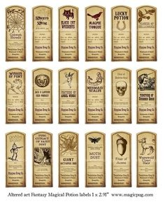 Fantasy Magic Potion Labels digital collage sheet 18 labels for decoupage witches brew supplies and more {wm}