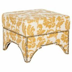 """Nailhead-trimmed floral ottoman.   Product: OttomanConstruction Material: Plywood, cotton and linen   Color: Maize and ivory Features: Nailhead trim Dimensions: 16.5"""" H x 20.3"""" W x 20.3"""" D"""