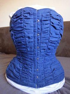 rushed denim corset by Kelly Banthorpe