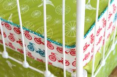 A really cute idea to spruce up bumper less crib bedding - use two different fabrics and use piping around crib sheet!  I may have to do this for some of my sets