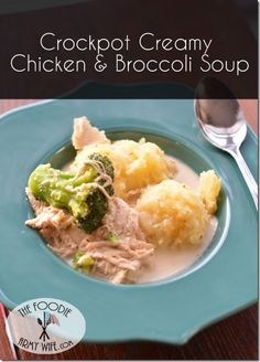 Crockpot Creamy Chicken & Broccoli Soup #WeekdaySupper #RecipeOfTheDay