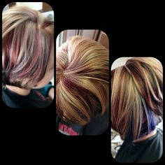 Beige Blonde and red highlights brown hair color with purple peek a boo asymmetrical hair cut