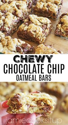 Chewy Chocolate Chip Oatmeal Bars from Jamie Cooks It Up! Perfect for taking to your next party or just for making for your family. #chocolatechipbars, #cookiebarrecipes, #jamiecooksitup, #easydessertrecipes