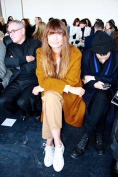 Caroline de Maigret front row at the Theory runway show.