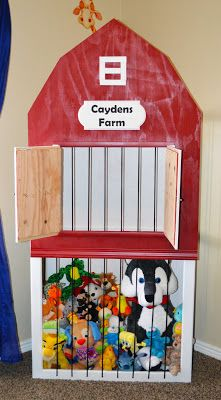 The Keeper of the Cheerios: Cayden's Farm- DIY Stuffed Animal Storage Zoo Anim Storag, Animals, Stuffed Animal Zoo, Stuf Anim, Anim Barn, Toy Room, Diy Stuffed Animal Storage