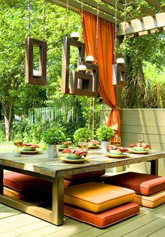 outdoor living, candle holders, patio, outdoor tables, back porches, backyard, outdoor spaces, hanging frames, floor cushions