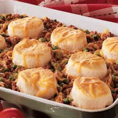 Ground Beef 'n' Biscuits Recipe | Taste of Home Recipes Made this tonight with green beans instead of peas, and added mushrooms (both canned) also used grands biscuits so it was totally covered. Pretty good, my boys ate a lot!