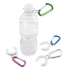 Water Bottle Clip from Container Store - expensive but cool.
