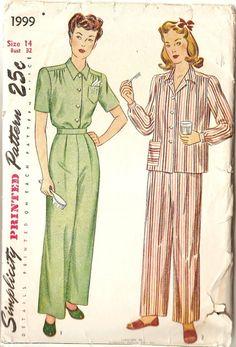 Vintage Sewing Pattern Womens Pajamas Simplicity by CherryCorners, $8.00
