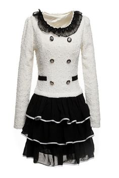 Multi-Layered Lace Splicing MLong Sleeves Dress  At Price 22.88 - DressLily.com
