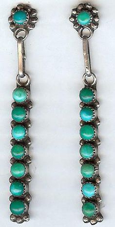 VINTAGE ZUNI INDIAN STERLING SILVER GREEN TURQUOISE DANGLE EARRINGS