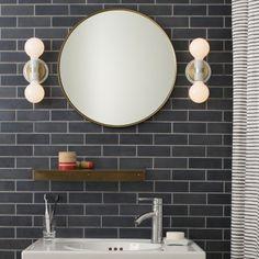 stripe grey tiles, light fixtures, subway tiles, bathroom