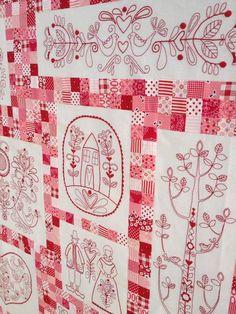 Scandinavian Rose #1 sew, redworkquilt, scandinavian rose, roses, redwork quilts, quilti, embroidery, scandinavian quilt, embroideri