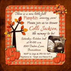 fall baby shower ideas | Fall Pumpkin Baby Shower Invitation - Square Autumn Photo