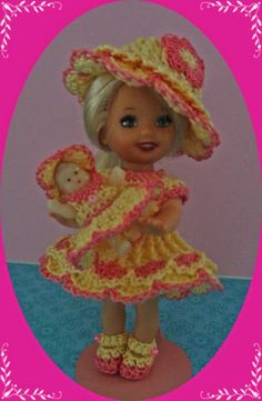 """Crochet Doll Clothes Easter Baby Doll Outfit for 4 ½"""" Kelly & same sized dolls"""