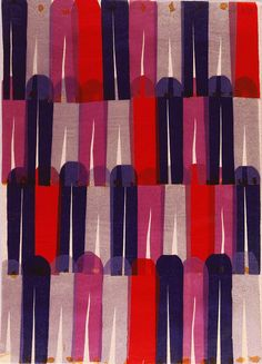 """Printed Textile Prototype, """"Clothespins"""", Collage of Colored Tissue Paper. Herman Miller, 1957-1959"""
