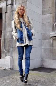 Jean vests and sweater, so cute!