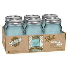 Blue mason jars are back for Perfect Mason's 100th anniversary! $8.99 for 6!