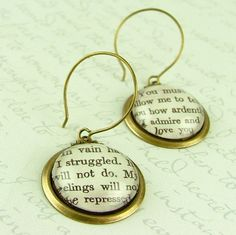 Jane Austen Literary Lovers Book Earrings 'Pride and Prejudice' - How Ardently I Admire and Love You from Etsy Shop JezebelCharms