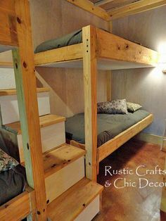 DIY Double Bunk Bed Design.  I think it would be cooler as a corner bunk bed :)