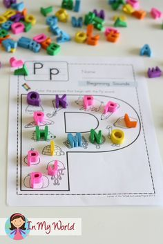 FREE Letter P Beginning Sounds. Use small alphabet erasers to cover each picture to show their beginning sounds.