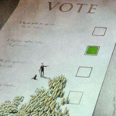 Ilustración de Pawel Kuczynski sobre borregos votando,...