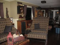 Primitive Gathering Room (CHANGES!!), I love collecting primitives and antiques...just hard to find a space to fit them in!  It keeps me changing things which is all part of the fun., The most comfy chair in the house!  Looking toward the dining area ... sorry about the ugly bin!       , Living Rooms Design