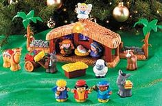 """Fisher Price Little People Nativity Set  Celebrate a special day, from long ago and far away. Press the angel on the stable and the star lights up to guide the wise men from afar and the tune """"Away in a Manger"""" plays. Two fence pieces connect to the stable and to the other Little People playsets. Children love retelling the Christmas story through play, and with a charming set of their very own, they might leave your holiday collectibles alone! Requires 3 """"AA"""" batteries (not included). (Item #38"""