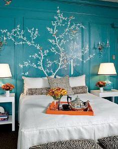 bird, wall colors, headboard, orang, blue walls, painted trees, bedroom, accent walls, tree murals