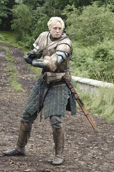 """I'm no lady."" Brienne shows the sportier side of Westeros. #gameofthrones #fashion"