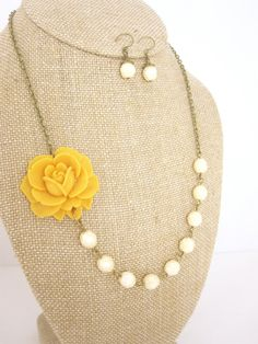 Flower Necklace  Mustard Yellow Necklace Rose and by kbjhandmade, $34.00 #etsysns #handmadebot #boebot